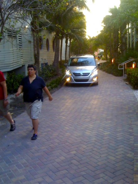 Drunk tourist driving on sidewalk in Miami's South Beach